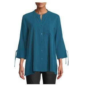 Eileen Fisher Fuji Silk Dark Jewel Blouse NWT